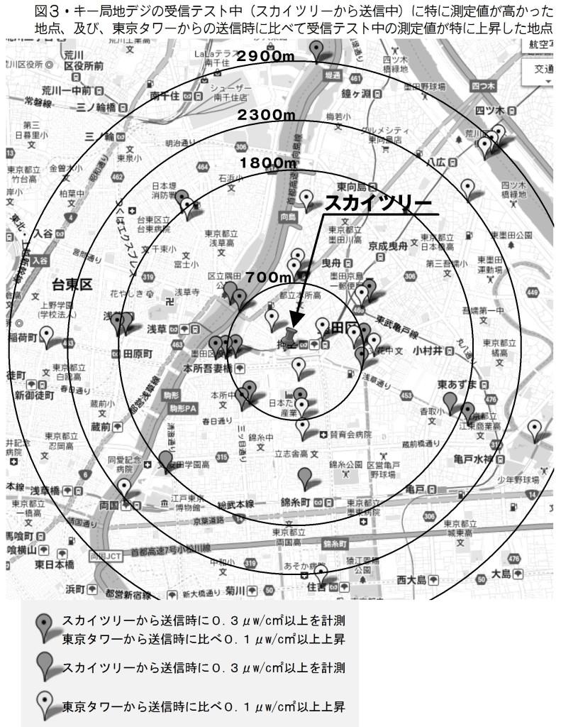 図3・キー局地デジの受信テスト中(スカイツリーから送信中)に特に測定値が高かった地点、及び、東京タワーからの送信時に比べて受信テスト中の測定値が特に上昇した地点